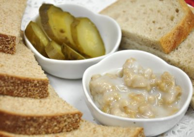 Assorted Rye bread platter with Lard and Pickles